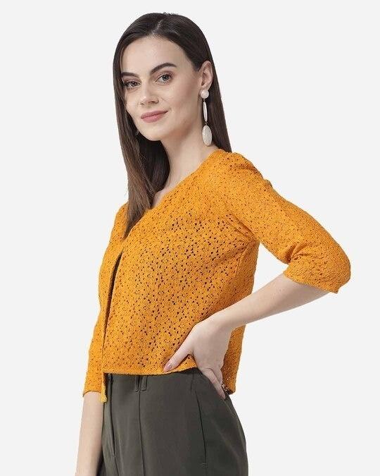 Shop Style Quotient Women Mustard Yellow Self Design Open Front Shrug-Design