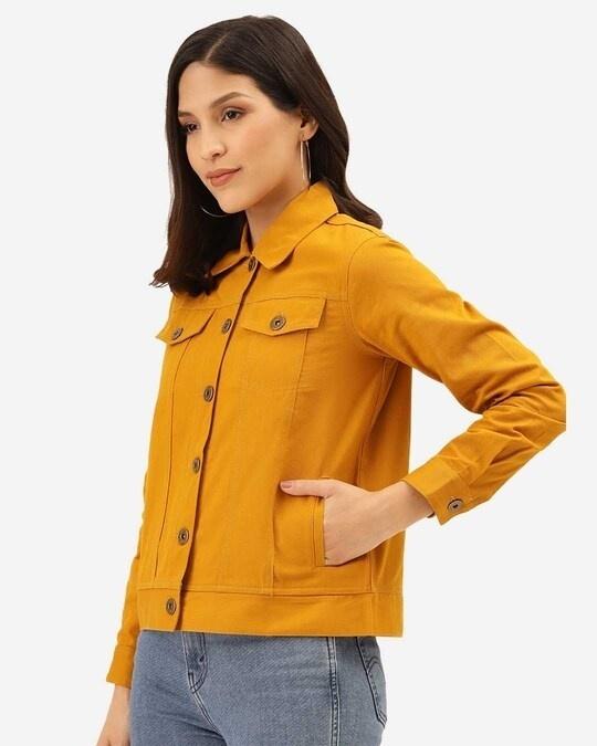 Shop Women Mustard Yellow Solid Denim Jacket-Back