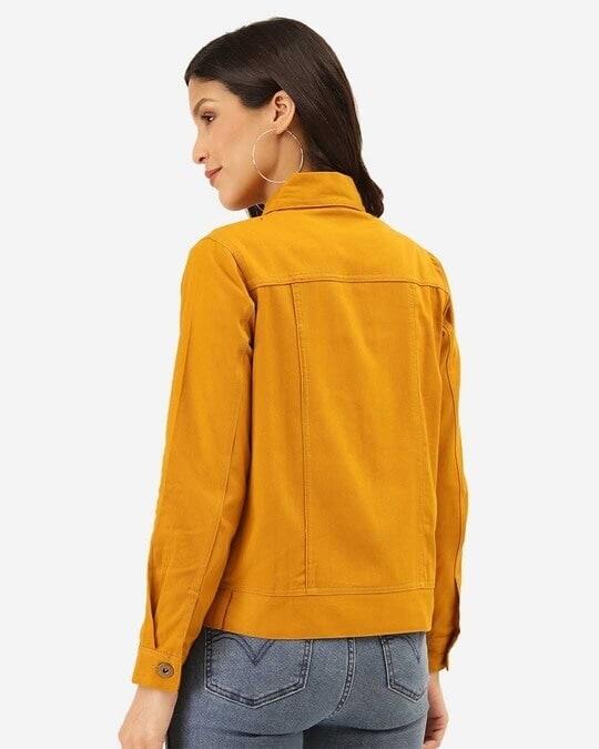 Shop Women Mustard Yellow Solid Denim Jacket-Design