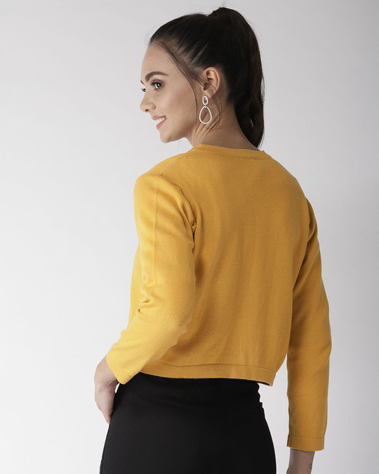Shop Style Quotient Women Mustard Yellow Solid Front-Open Sweater-Design