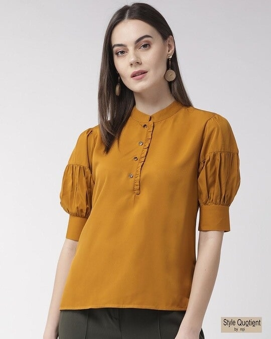 Shop Style Quotient Women Mustard Yellow Solid Top-Front