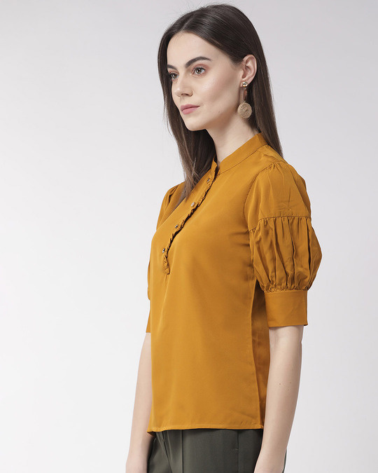 Shop Style Quotient Women Mustard Yellow Solid Top-Back