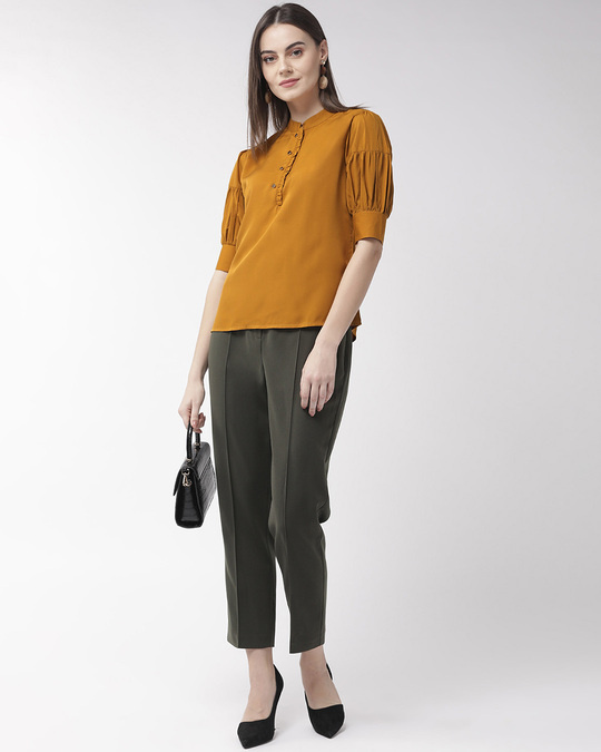 Shop Style Quotient Women Mustard Yellow Solid Top-Full