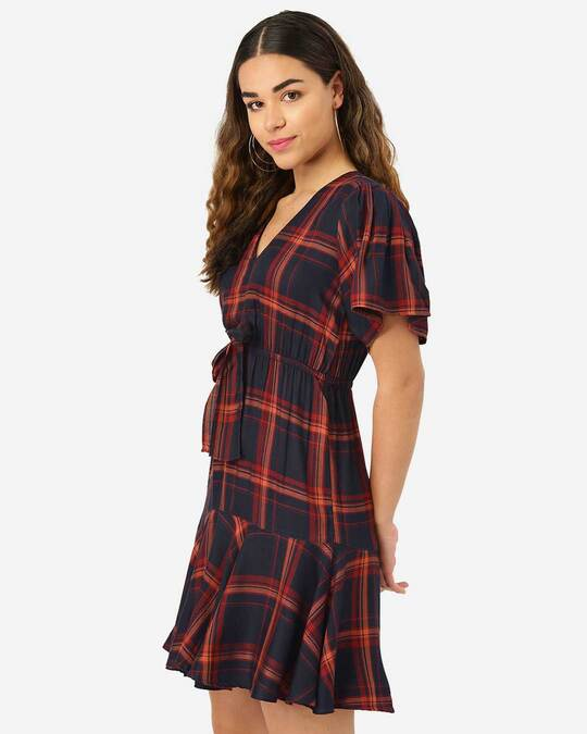 Shop Style Quotient Women Navy & Rust Red Checked A-Line Dress-Back