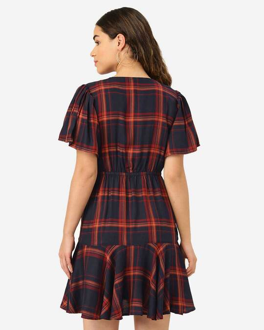 Shop Style Quotient Women Navy & Rust Red Checked A-Line Dress-Design