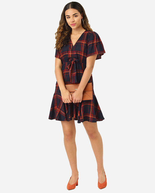 Shop Style Quotient Women Navy & Rust Red Checked A-Line Dress-Full
