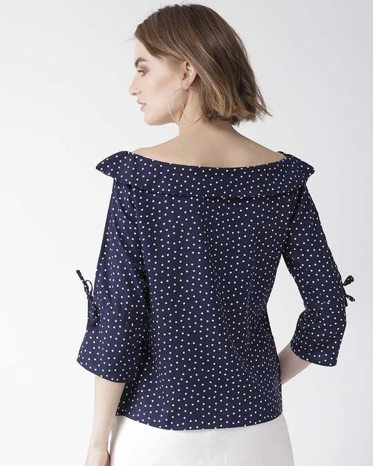 Shop Women Navy & White Polk Dot Print Bardot Top-Design