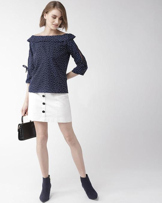 Shop Women Navy & White Polk Dot Print Bardot Top-Full