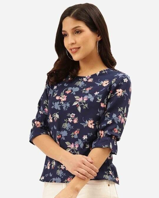 Shop Style Quotient Women Navy Blue & Pink Floral Print Regular Top-Back