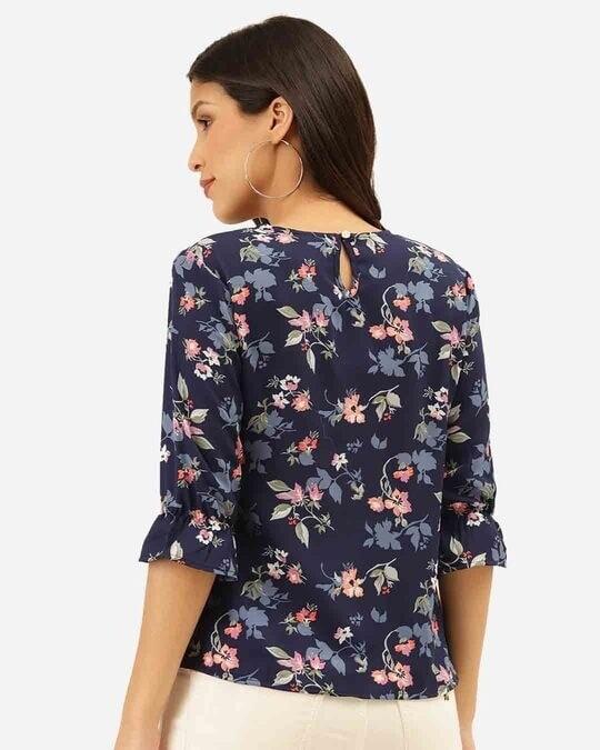 Shop Style Quotient Women Navy Blue & Pink Floral Print Regular Top-Design