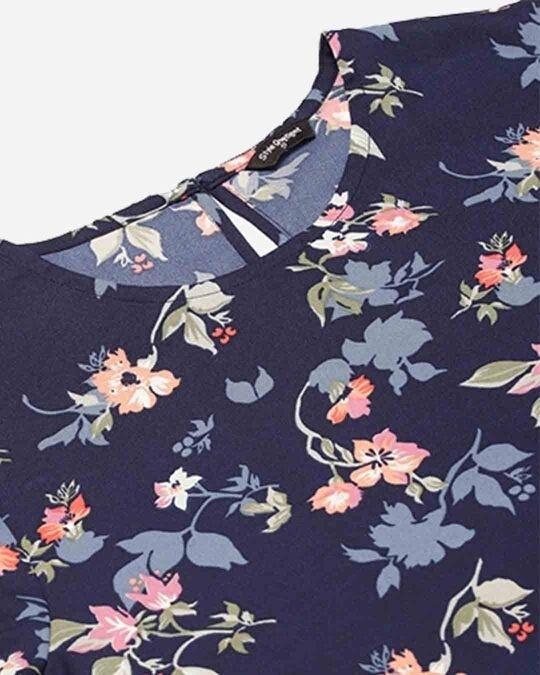 Shop Style Quotient Women Navy Blue & Pink Floral Print Regular Top