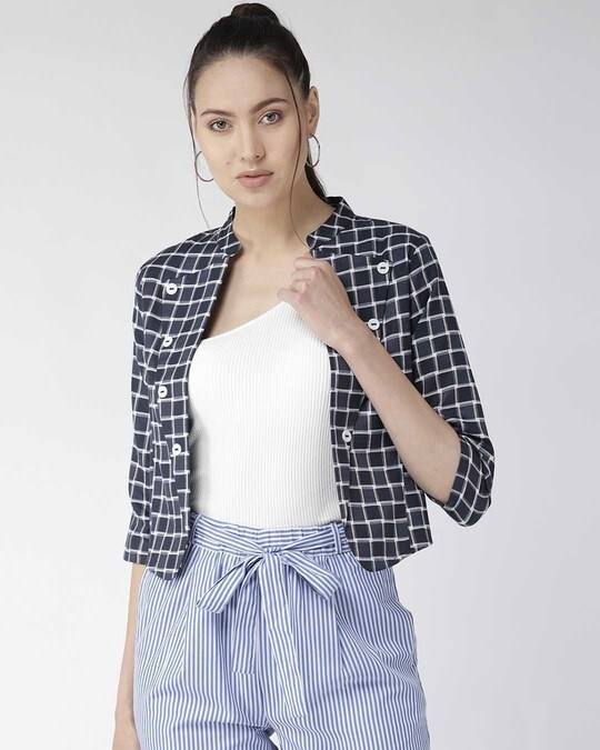 Shop Women Navy Blue & White Checked Crop Tailored Jacket-Front