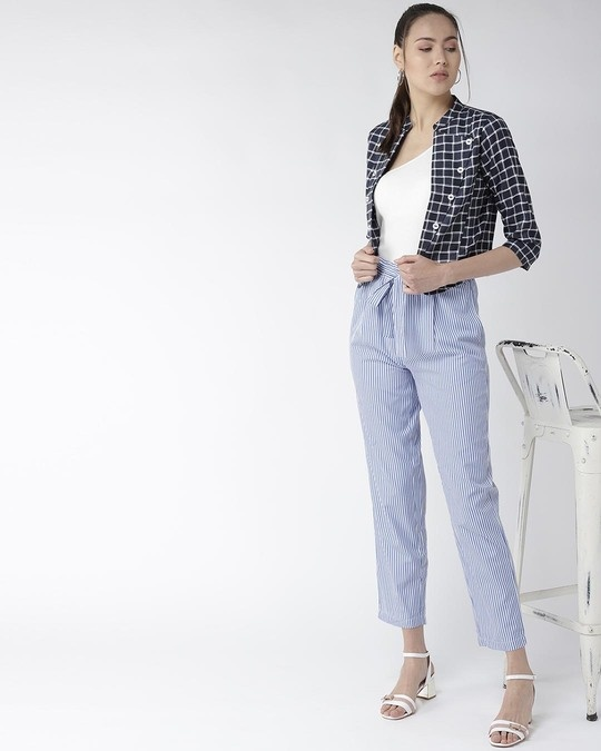 Shop Women Navy Blue & White Checked Crop Tailored Jacket-Full