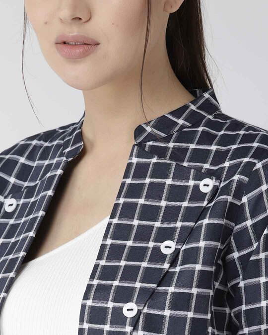 Shop Women Navy Blue & White Checked Crop Tailored Jacket