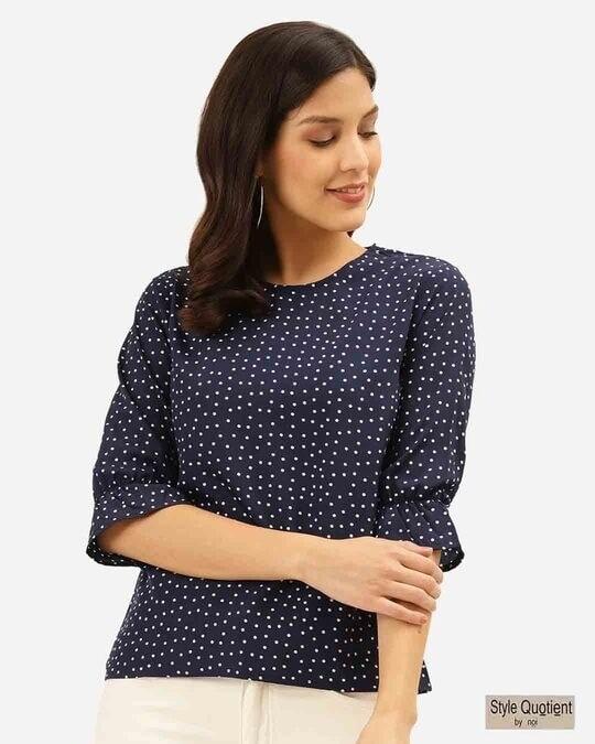 Shop Women Navy Blue & White Polka Dot Print Regular Top-Front