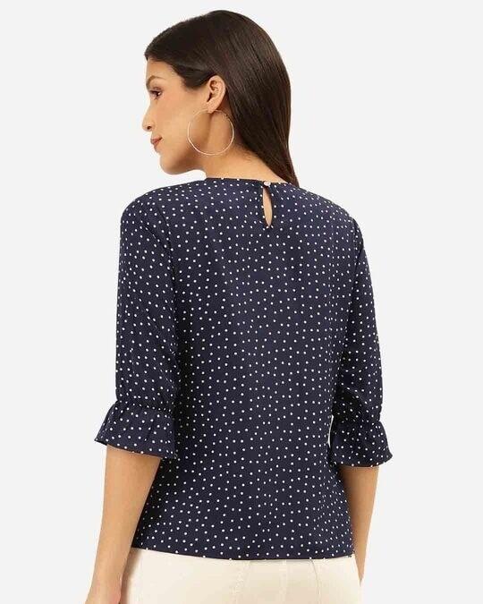 Shop Style Quotient Women Navy Blue & White Polka Dot Print Regular Top-Design