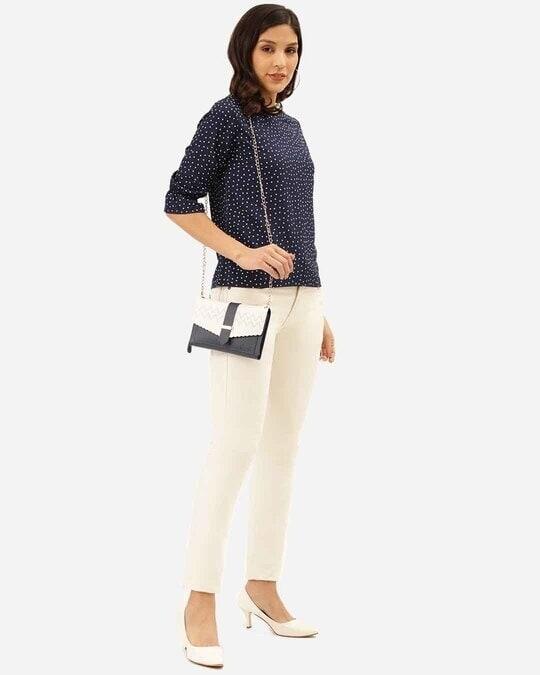 Shop Women Navy Blue & White Polka Dot Print Regular Top-Full