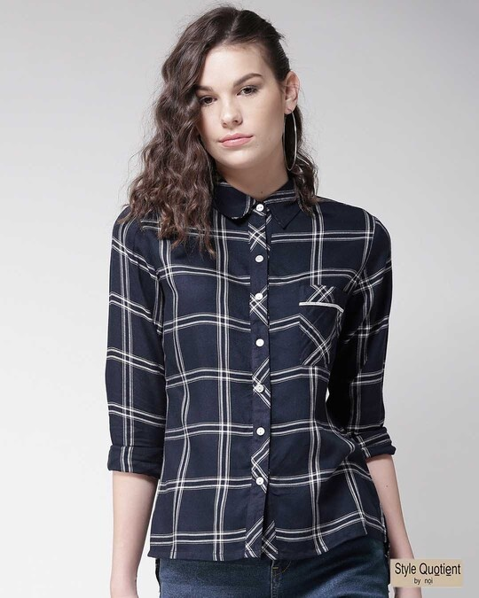 Shop Women Navy Blue & White Regular Fit Checked Casual Shirt-Front