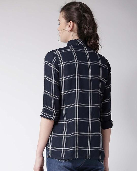 Shop Women Navy Blue & White Regular Fit Checked Casual Shirt-Full