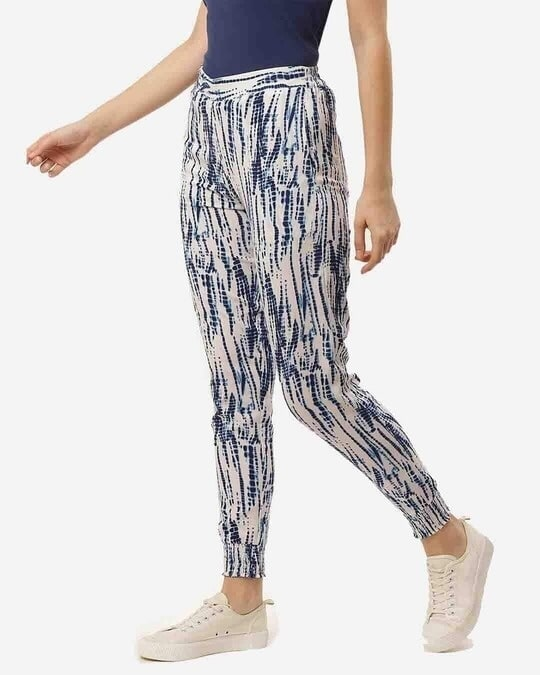 Shop Women Navy Blue & White Relaxed Slim Fit Dyed Joggers-Design