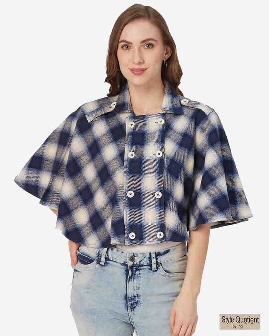 Shop Style Quotient Women Navy Blue and White Checked Cape Jacket-Front
