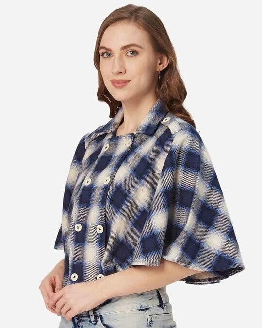 Shop Style Quotient Women Navy Blue and White Checked Cape Jacket-Design