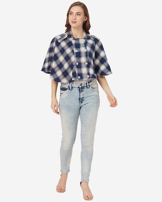 Shop Style Quotient Women Navy Blue and White Checked Cape Jacket