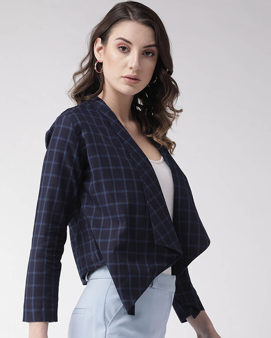 Shop Style Quotient Women Navy Blue Checked Open Front Shrug-Back