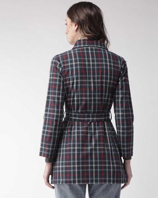 Shop Women Navy Blue Checked Tailored Jacket-Design