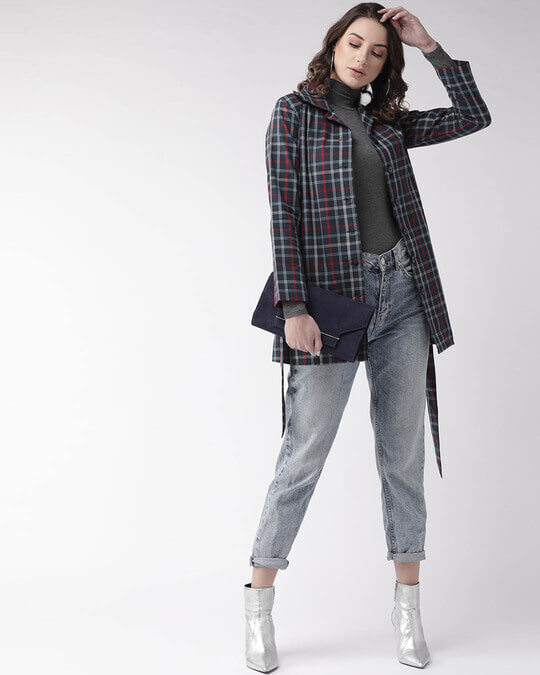 Shop Women Navy Blue Checked Tailored Jacket-Full