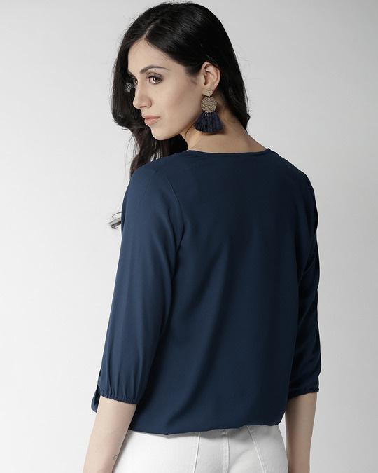Shop Women Navy Blue Embroidered Detail Wrap Top-Design