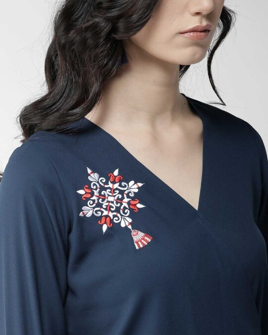 Shop Women Navy Blue Embroidered Detail Wrap Top