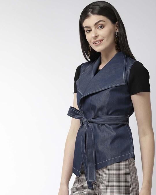 Shop Women Navy Blue Solid Asymmetric Closure Open Front Jacket-Back