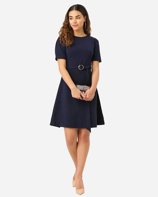 Shop Style Quotient Women Navy Blue Solid Fit and Flare Dress-Full