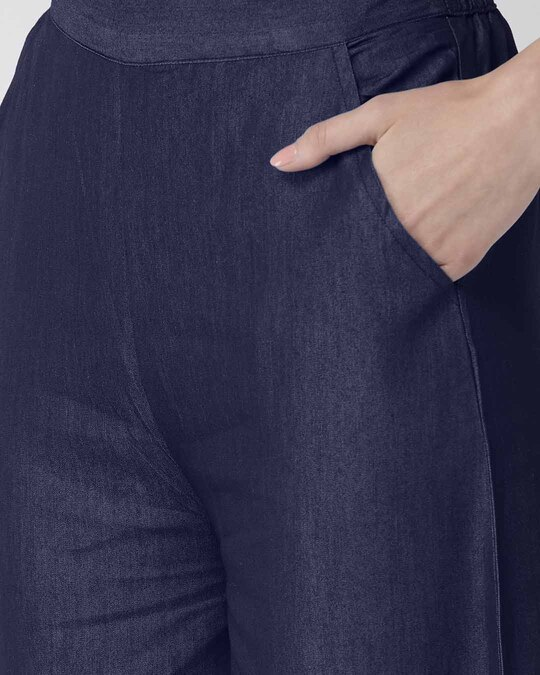 Shop Women Navy Blue Solid High Rise Chambray Palazzos-Back