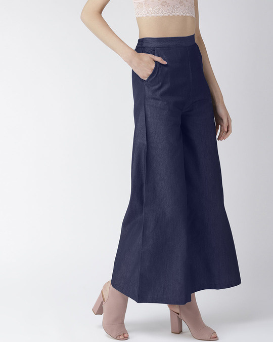 Shop Women Navy Blue Solid High Rise Chambray Palazzos-Design
