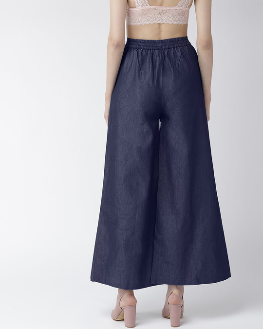 Shop Women Navy Blue Solid High Rise Chambray Palazzos-Full