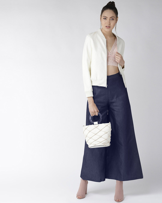 Shop Women Navy Blue Solid High Rise Chambray Palazzos