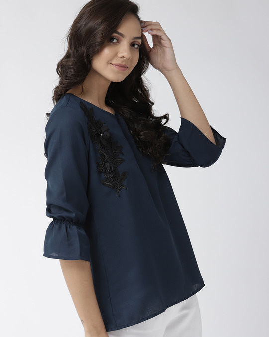 Shop Style Quotient Women Navy Blue Solid Top with Applique Detail-Back