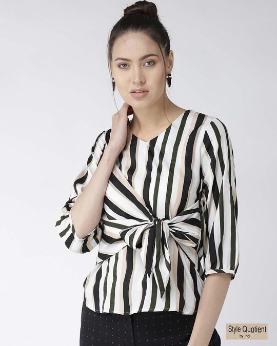 Shop Women Off White & Black Striped Top-Front