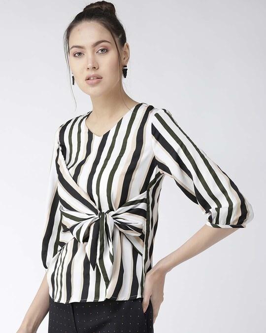 Shop Women Off White & Black Striped Top-Back