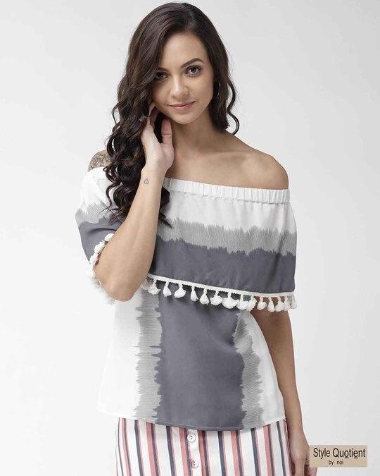 Shop Women Off White & Grey Colourblocked Layered Bardot Top-Front