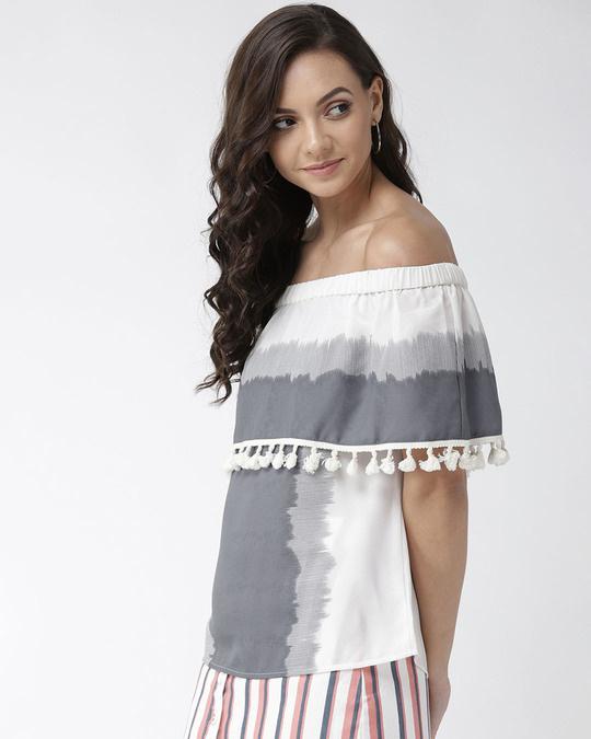 Shop Women Off White & Grey Colourblocked Layered Bardot Top-Back
