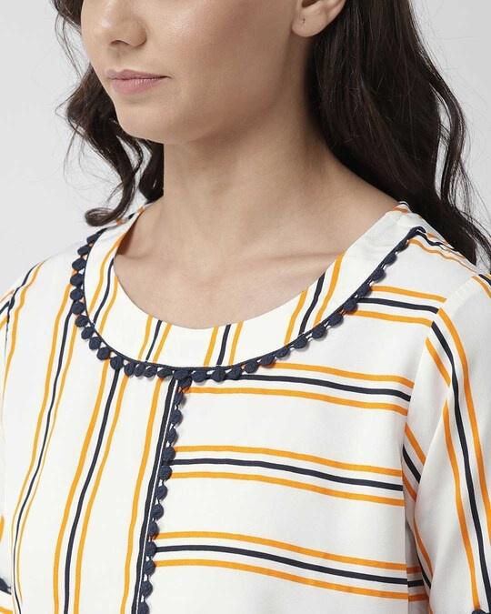 Shop Women Off White & Navy Blue Striped Top