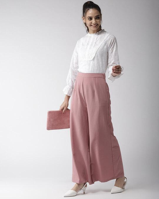 Shop Women Off White Printed Semi Sheer Top-Full
