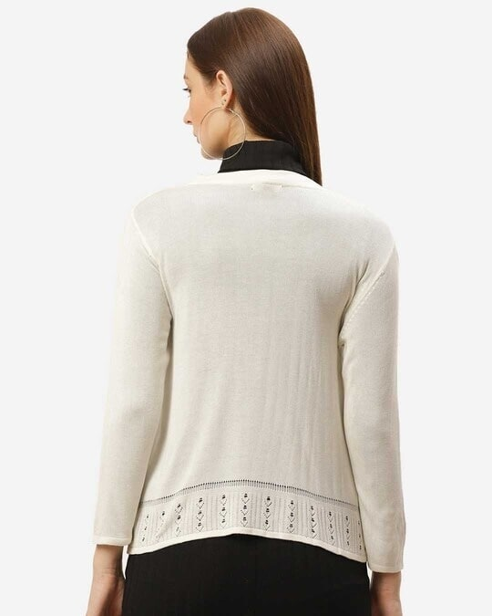 Shop Style Quotient Women Off-White Solid Open Front Shrug-Full