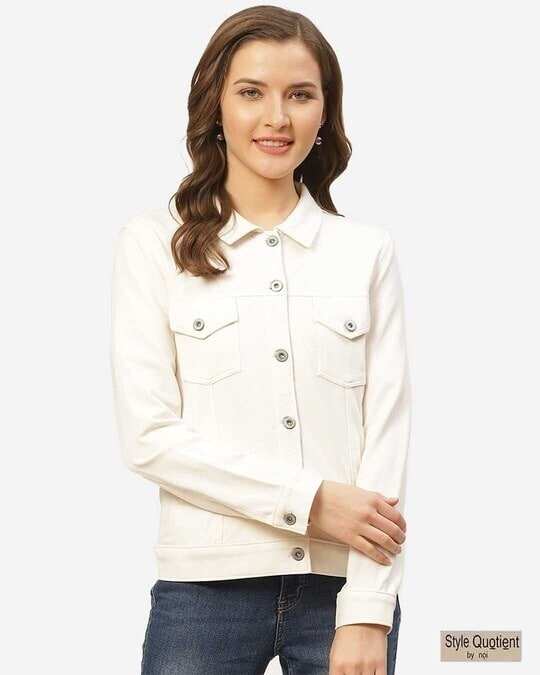 Shop Women Off White Solid Slim Fit Lightweight Shacket-Front