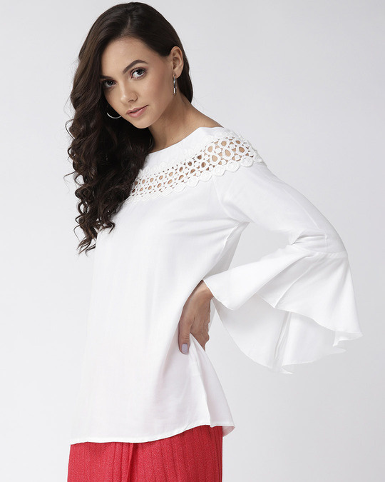 Shop Style Quotient Women Off-White Solid Top-Back