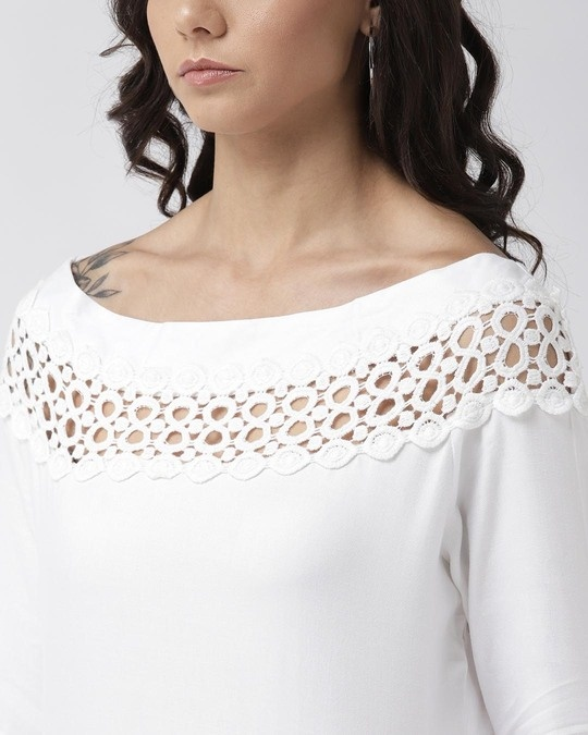 Shop Style Quotient Women Off-White Solid Top