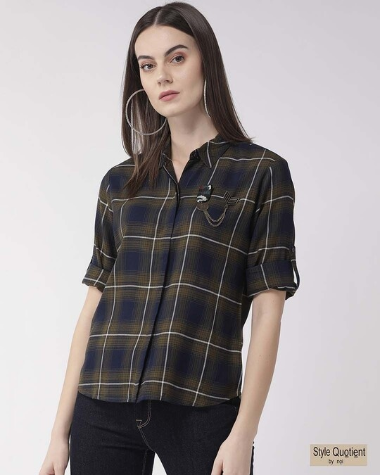 Shop Women Olive Green & Navy Blue Regular Fit Checked Casual Shirt-Front